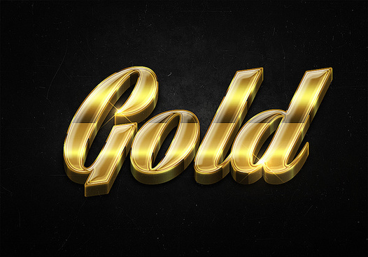 95 3d shiny gold text effects preview