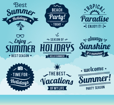 9 blue summer label vector map