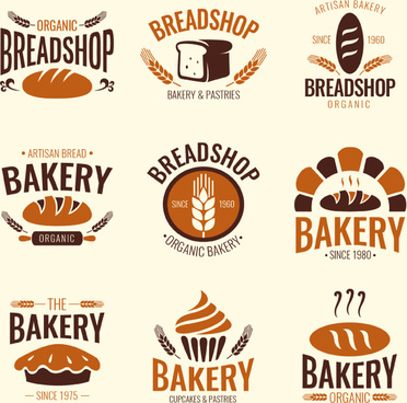 9 bread shop label vector