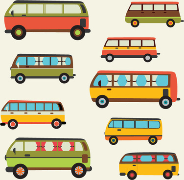 9 cartoon bus design vector