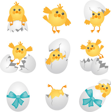 9 cartoon chicken and egg vector