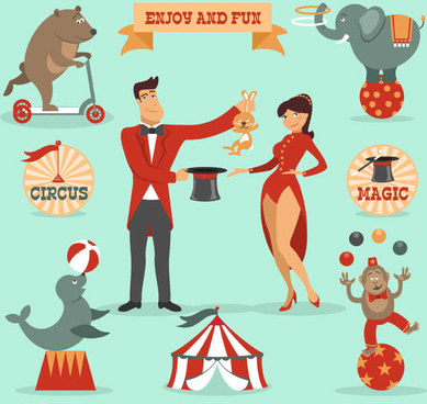 9 cartoon circus elements vector map