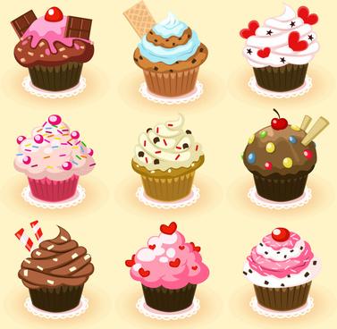 9 delicious cupcakes vector
