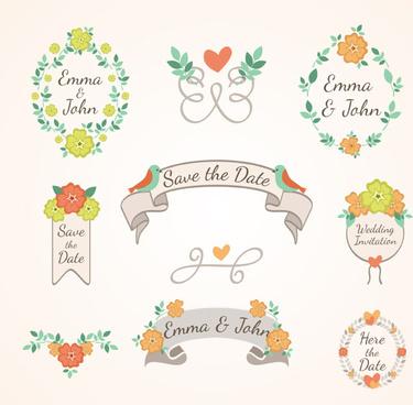 9 fresh flowers wedding tag vector