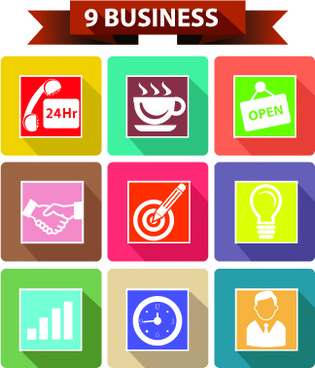 9 kind business icons vector