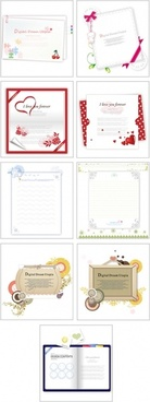 9 lovely greeting cards stationery vector