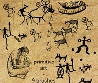 9 primitive art brushes