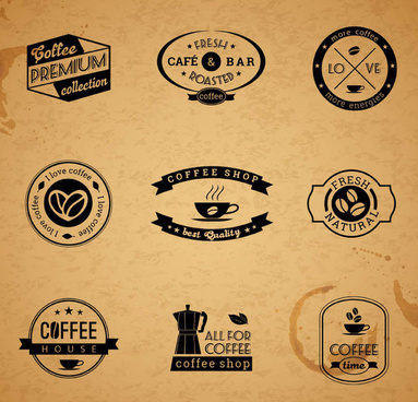 9 retro coffee label design vector