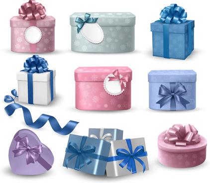 9 ribbon gift box design vector
