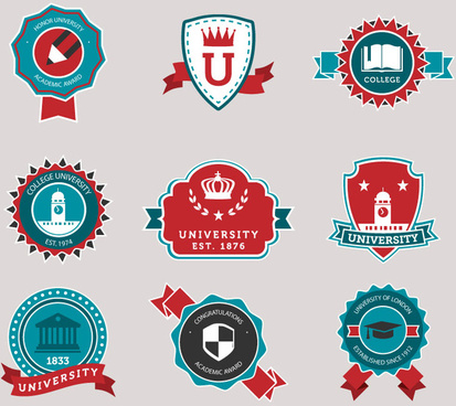 9 university campus signs vector
