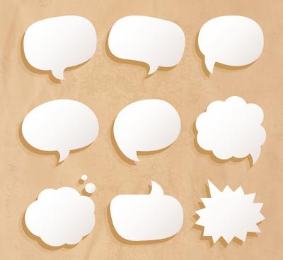 9 white bubble vector language