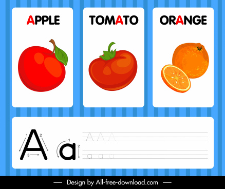 a alphabet banner fruits sketch colored decor