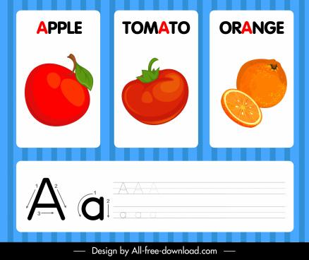 a alphabet banner fruits sketch colored decor
