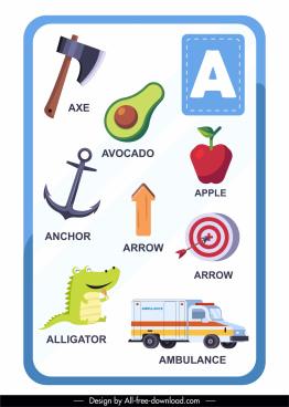 a alphabet education template colorful symbols sketch