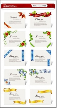 a collection of exquisite ribbons 01 vector