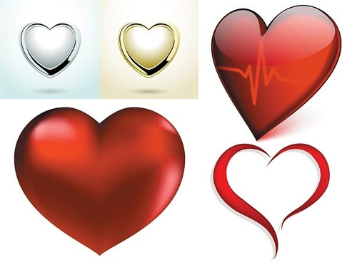 a few red heart vector