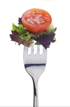 a fork and vegetables stock photo