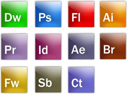 a full set of adobe software icon psd layered files