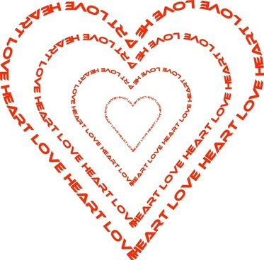 A Heart Done By Words Outline clip art