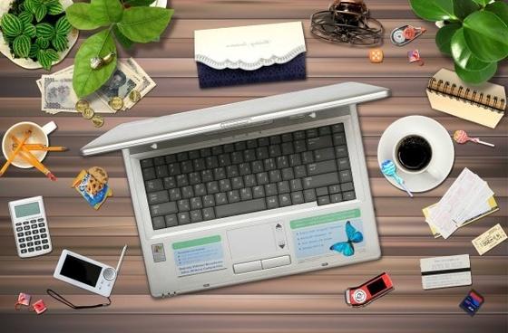 a messy office desktop psd layered