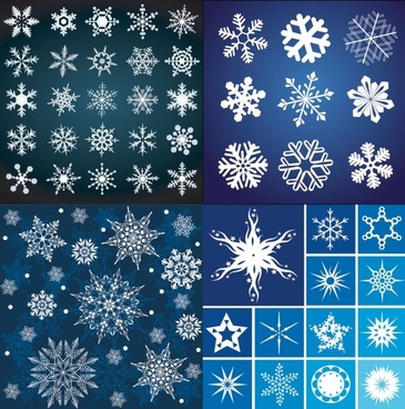 snowflakes pattern background sets bright design various types