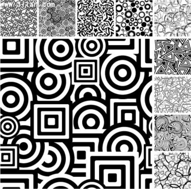 a variety of black and white graphic background vector