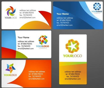 name card templates bright colorful modern design