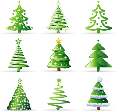 a_variety_of_cartoon_christmas_tree_vect