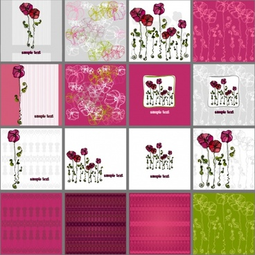 card background templates classical flora flat sketch