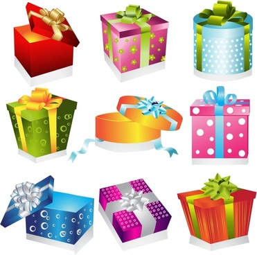 gift box icons colorful 3d sketch elegant decor