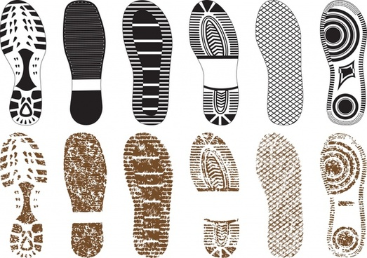 a variety of exquisite shoe print vector