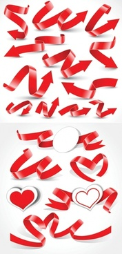 A variety of festive ribbon ribbons vector