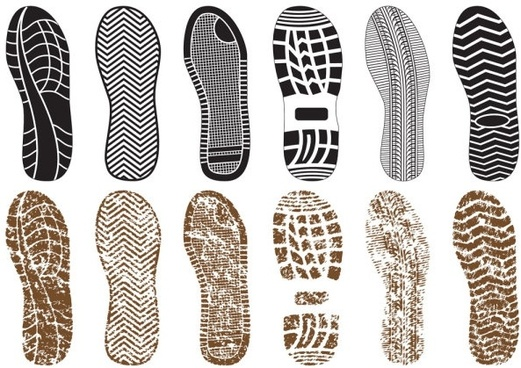a variety of fine shoe print 03 vector