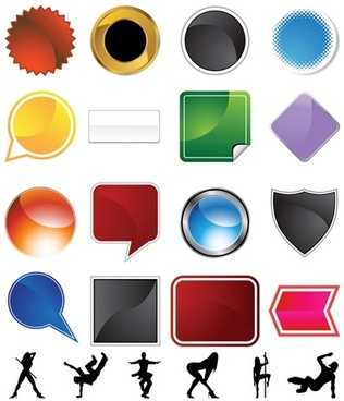 a variety of graphical icons and female silhouette vector