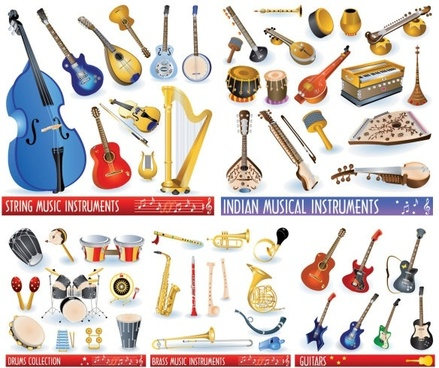 a variety of musical instruments vector
