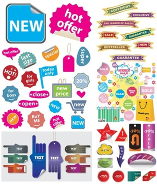 a variety of shopping sites decorative graphics vector