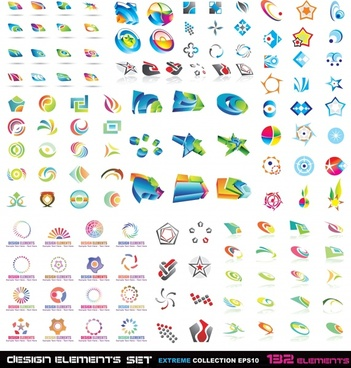 logo signs collection colorful modern shapes sketch