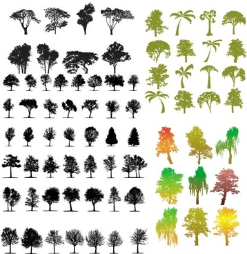 a variety of trees silhouette vector