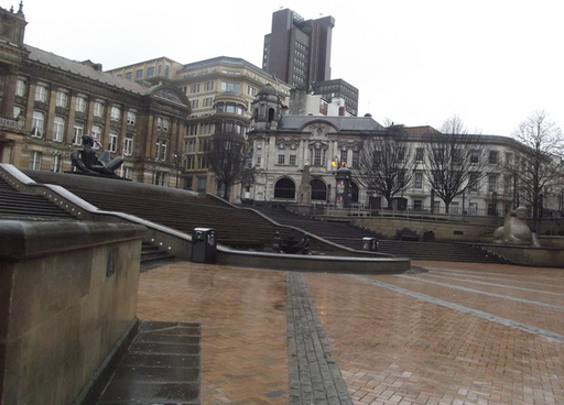 a wet new years day in victoria square birmingham