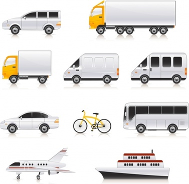 vehicles models icons colored modern sketch