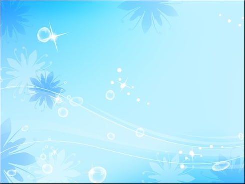 blue background vector illustration with flowers and drops