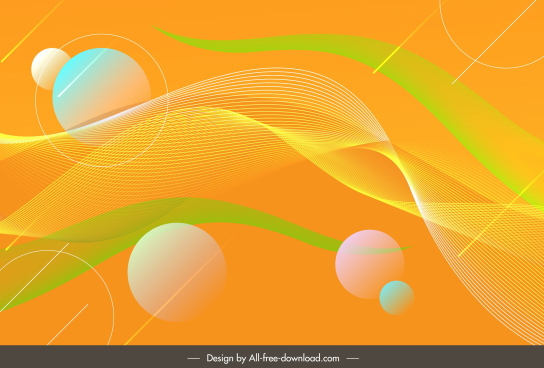 abstract background bright colorful circles swirled lines decor
