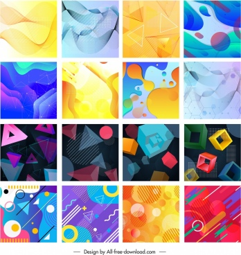 abstract background collection colorful dynamic flat 3d sketch