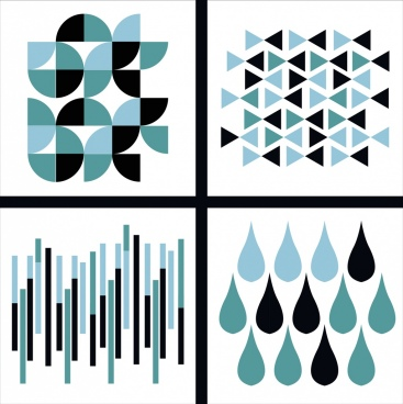 abstract background sets dark blue design repeating icons