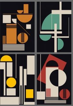 abstract background sets dark flat geometric design