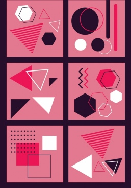 abstract background sets geometric theme pink decor