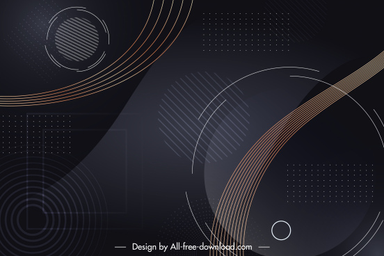 abstract background template circles curves sketch dark design