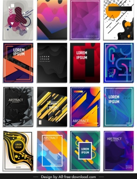 abstract background templates collection colorful shapes decor