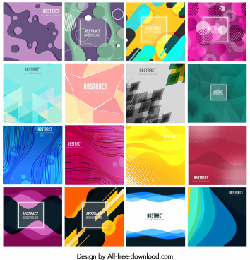 abstract background templates colorful deformed geometric shapes decor