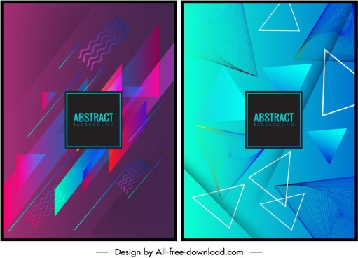 abstract background templates triangles decor dark pink blue